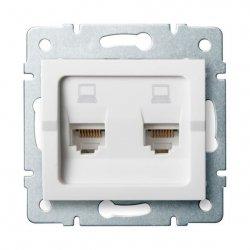 Gniazdo komputerowe podwójne niezależne, (2x RJ45Cat 6  Jack) LOGI 02-1420-002 bi 25111