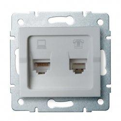 Gniazdo komputerowo-telefoniczne (RJ45 Cat 5e+RJ11) LOGI 02-1430-043 sr 25230