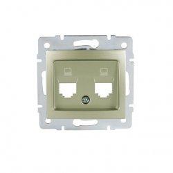 Adapter gniazdo komputerowe podwójne niezależne, (2x RJ45 Jack), bez gniazda DOMO 01-1419-050 sz 25935