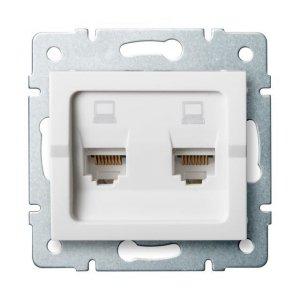 Gniazdo komputerowe podwójne niezależne (2x RJ45Cat 6 Jack) LOGI 02-1420-002 bi 25111