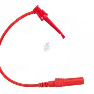 Chwytak bezp. haczyk. 1N-0022-R + przewód gn. 4mm CAT III 600V, 5A czerwony