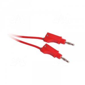 Przewód pom.0,75mm2,dł.100cm, 2xbanan(M+F), czerwony