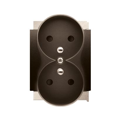 Pokrywa do gniazda wtyczkowego podwójnego z uziemieniem - do ramek PREMIUM brąz mat, metalizowany