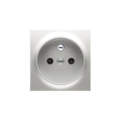 Pokrywa do gniazda wtyczkowego pojedynczego z uziemieniem srebrny mat, metalizowany