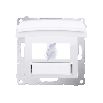 Pokrywa IP44 dla gniazd teleinformatycznych na Keystone płaska podwójna z polem opisowym antybakteryjny biały