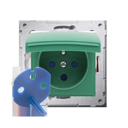 Gniazdo wtyczkowe pojedyncze DATA do wersji IP44 z kluczem uprawniającym do ramek Nature do ramek Premium (moduł) 16A 250V, zaci