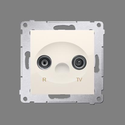 Gniazdo antenowe R-TV przelotowe tłum.:10dB kremowy