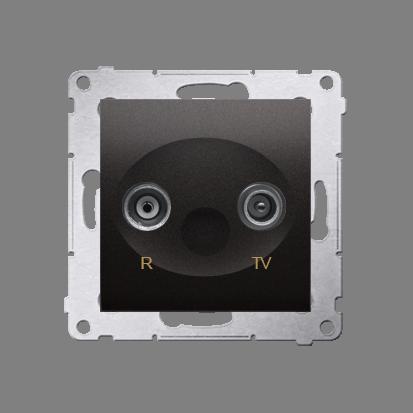 Gniazdo antenowe R-TV przelotowe tłum.:10dB antracyt, metalizowany