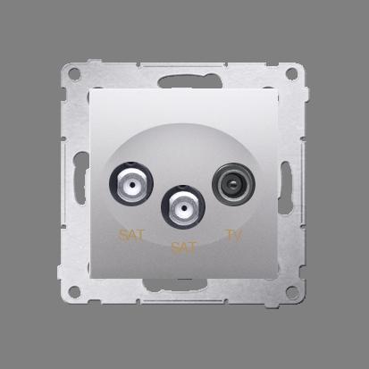Gniazdo antenowe SAT-SAT-RTV satelitarne podwójne tłum.:1dB srebrny mat, metalizowany