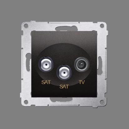 Gniazdo antenowe SAT-SAT-RTV satelitarne podwójne tłum.:1dB antracyt, metalizowany