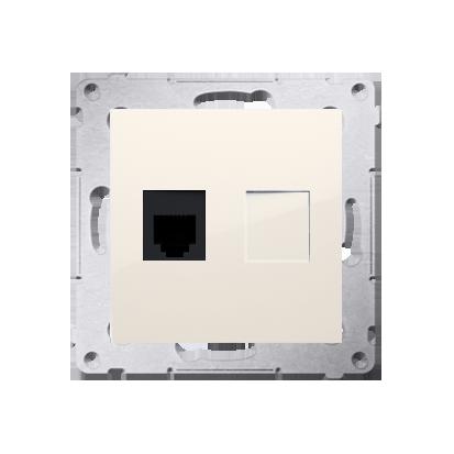 Gniazdo telefoniczne pojedyncze RJ12 (moduł) kremowy