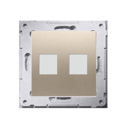 Pokrywa gniazd teleinformatycznych na Keystone płaska podwójna złoty mat, metalizowany