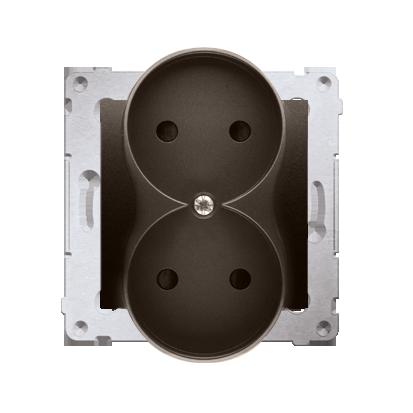 Gniazdo wtyczkowe podwójne bez uziemienia z przesłonami torów prądowych do ramek Premium (moduł) 16A 250V, zaciski śrubowe, brąz