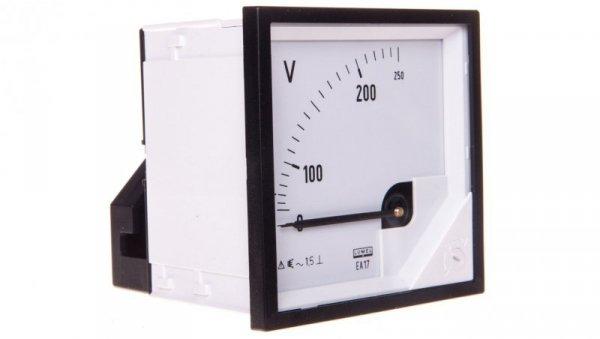 Woltomierz analogowy 72x72 N IP50 E61 250V pozycja pracy C3 K=90 st. bez atestu KJ EA17N E61300000000