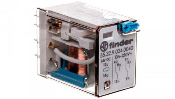 Przekaźnik miniaturowy 2P 10A 24V DC przycisk testujący mechaniczny wskaźnik zadziałania 55.32.9.024.0040