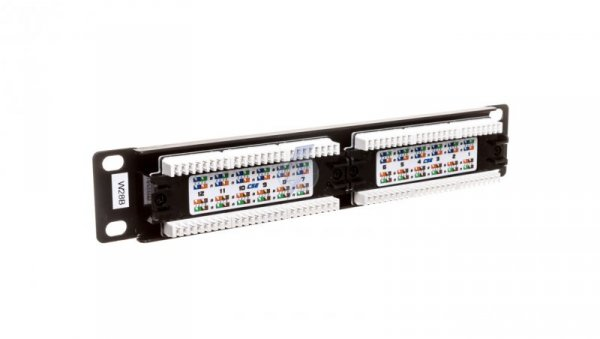 Patch panel kompletny 10 cali 12x RJ45 U/UTP kat. 5e 1U czarny (RAL 9005) DN-91512U