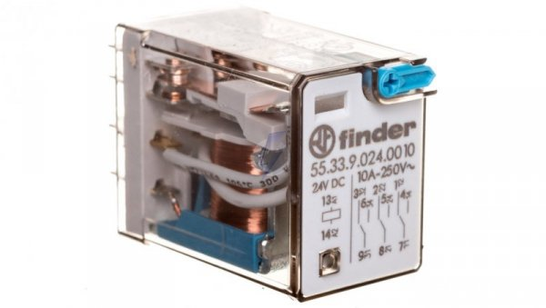 Przekaźnik miniaturowy 3P 10A 24V DC przycisk testujący AgNi 55.33.9.024.0010