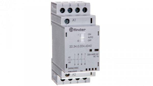 Stycznik modułowy 4Z 25A 24V AC/DC funkcja Auto-On-Off, wskaźnik zadziałania + LED, 35mm 22.34.0.024.4340