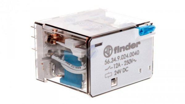 Przekaźnik 4P 12A 24V DC przycisk testujący, mechaniczny wskaźnik zadziałania 56.34.9.024.0040