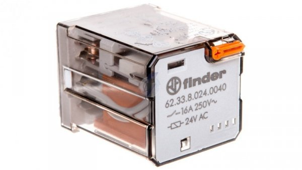 Przekaźnik 3P 16A 24V AC do gniazd lub Faston 187, przycisk testujący, mechaniczny wskaźnik zadziałania 62.33.8.024.0040