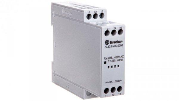 Przekaźnik kontroli napięcia 3-fazowy kontrola zaniku, rotacji i niskiej wart. nap. na fazę 208-480V AC 70.62.8.400.0000