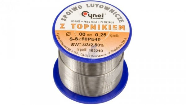Drut do lutowania 1mm 250g DW 1,00/TLR cyna E05ML-01010200701