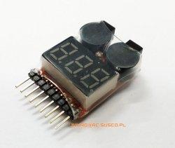 Miernik - Wskaźnik napięcia LiPo LCD + Buzzer Wskaźnik napięcia