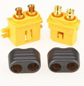 Wtyki XT60-L z osłoną i stopką - Konektor XT60-L - kompletne złącze wysokoprądowe - 1 para