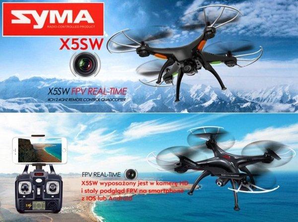Dron Quadrocopter Syma X5SW WiFi FPV Kamera 2mpx