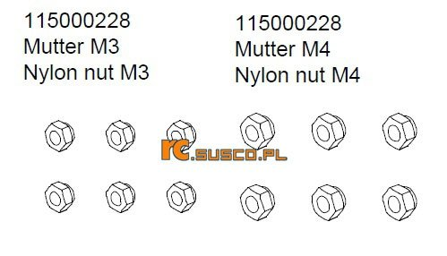 Nylon nut M3 & M4 - Ansmann Virus