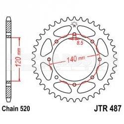 Zębatka tylna stalowa JT 487-44, 44Z, rozmiar 520 2300444 Kawasaki KLR 650