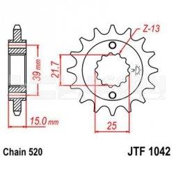 Zębatka przednia JT F1042-14, 14Z, rozmiar 520 2201071 Kymco Maxxer 300