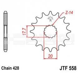 Zębatka przednia JT F558-14, 14Z, rozmiar 428 2201080 Yamaha YZ 85