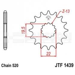 Zębatka przednia JT F1439-12, 12Z, rozmiar 520 2201038 Suzuki LT-F 160