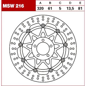 TRW Tarcza hamulcowa MSW216 SUZUKI VZ 1600 KAWASAK