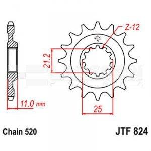 Zębatka przednia JT F824-14, 14Z, rozmiar 520 2201611 Husqvarna WR 250