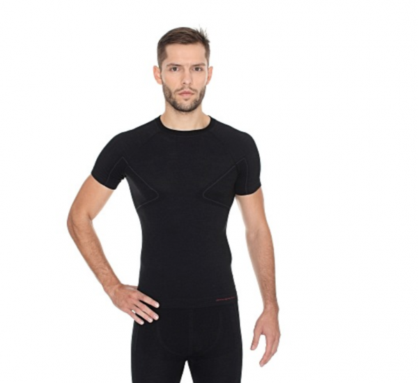 BRUBECK koszulka ACTIVE WOOL męska czarny krótki rękaw, wełna merino