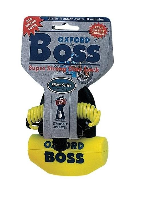 Blokada tarczy hamulcowej OXFORD Boss z przypominaczem i mocowaniem trzpień 14mm kolor żółty GS
