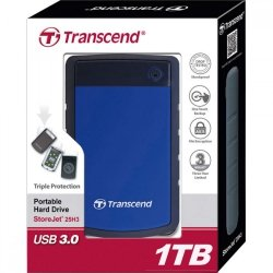 Transcend StoreJet 25H3B 1TB USB 3.0, 2.5'' HDD Wstrząsoodporny / Szybki Backup