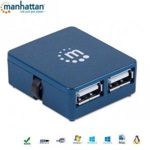 Hub USB Manhattan 4 porty 2.0 Micro, niebieski
