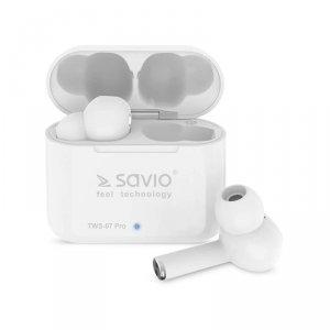 Słuchawki z mikrofonem Savio TWS-07 PRO Powerbank bezprzewodowe Bluetooth 5.0 białe