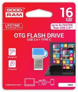 Pendrive GOODRAM DUALDRIVE 16GB USB 3.0 / TYPE C RETAIL 10