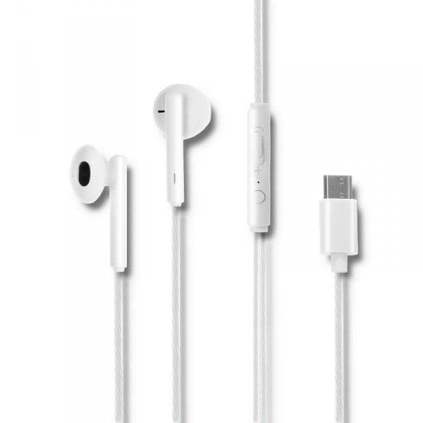 Słuchawki z mikrofonem Qoltec douszne | USB-C | białe