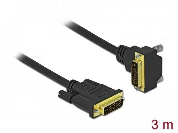 Kabel Delock DVI-D(M)(24+1) - DVI-D(M)(24+1) kątowy dół czarny 3m