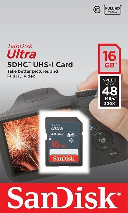 SanDisk karta pamięci Ultra SDHC 16GB Class 10 UHS-I, Odczyt: do 48MB/s