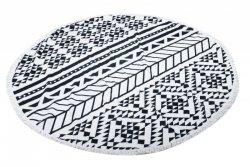 Ręcznik plażowy okrągły duży pled boho szary 158cm