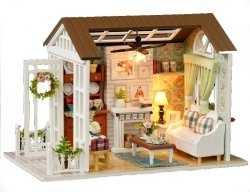 Domek dla lalek drewniany salon model do złożenia LED 8008-A