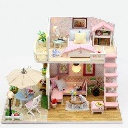 Domek dla lalek  piętrowy drewniany model do złożenia LED