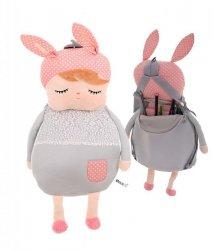 Plecak przedszkolaka pluszowy lalka szara METOO 40x23cm