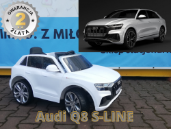 AUDI Q8 S-line LIFT 2020 auto na akumulator dla dzieci + PILOT RC JJ2066 Biały